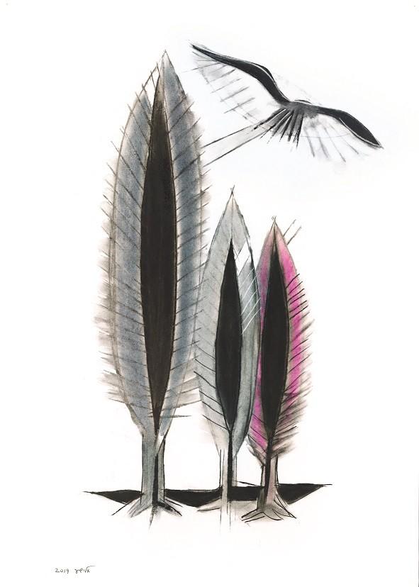 אלישע שפירא שלושה ברושים וציפור 2019