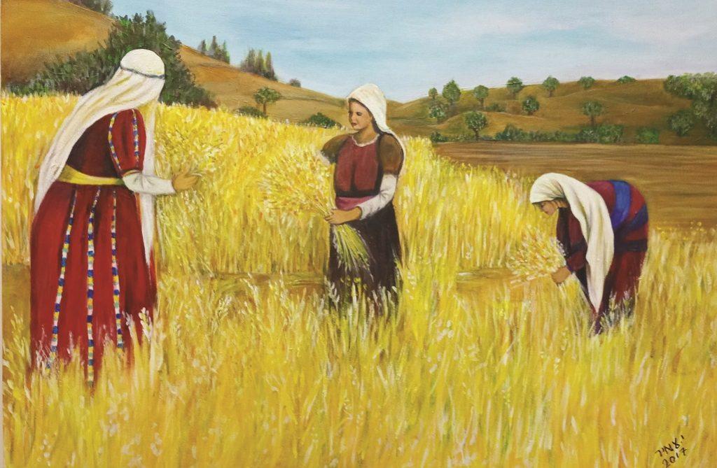 שלוש נשים ובידיהם צרור שיבולים