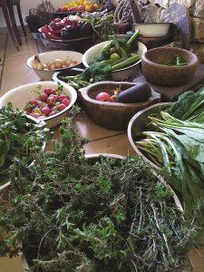 ירקות וצמחי בר במטבח של ארז