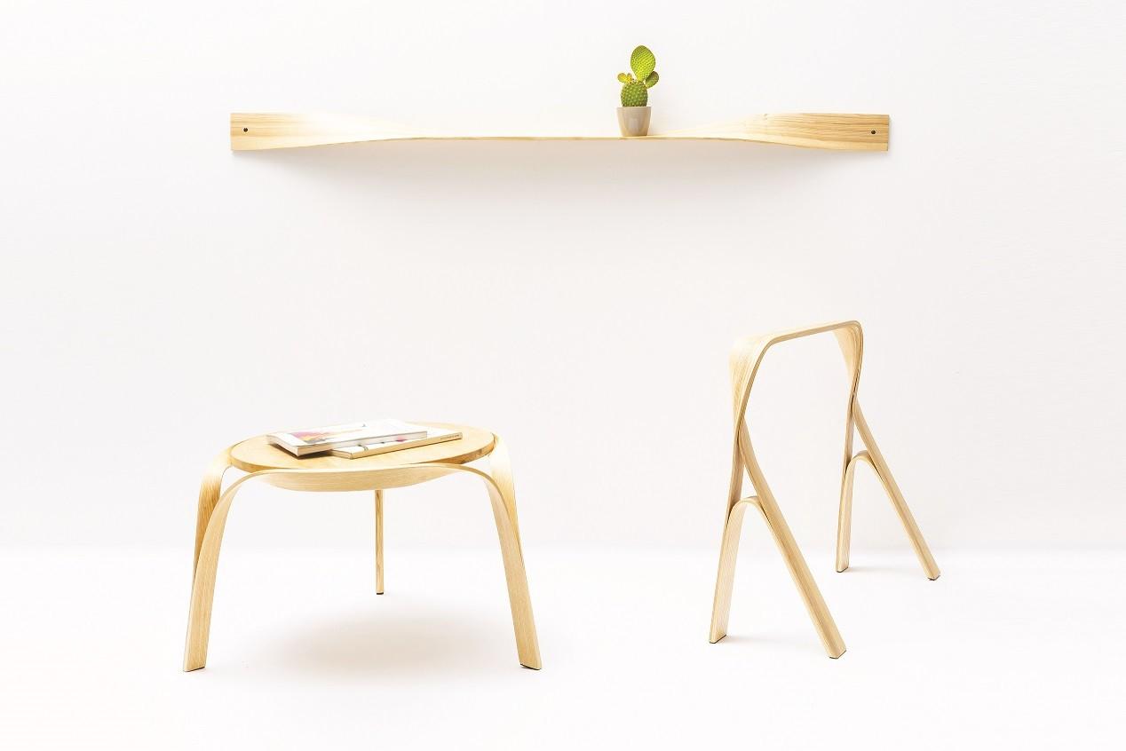 עבודת גמר מערכת רהיטים בכיפוף עצם באדים צילום נימרוד גנישר