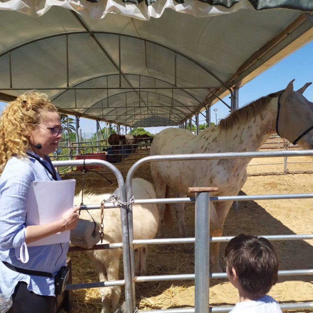 וילנאי משוחחת עם ילד לצד סוס עיוור בחווה