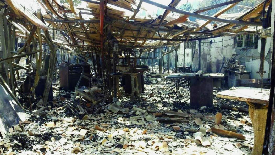 בית המלאכה של מיכה הררי אחרי השריפה