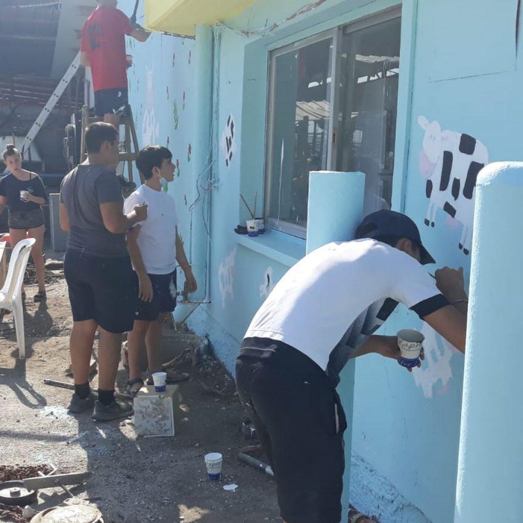 צובעים את קירות הרפת